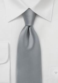 Festive Silver Mens Tie in Solid Satin