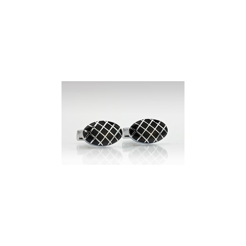 Oval Cufflinks in Silver and Black