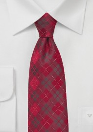 Kids Plaid Tie in Apple Red