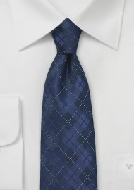 XL Tie in Navy with Plaid Design