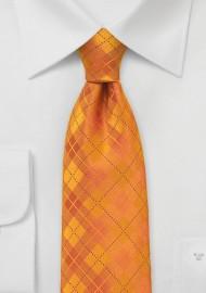 Bright Orange Kids Plaid Tie