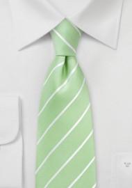 XL Striped Tie in Pistachio Green