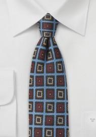 Trendy Medallion Wool Print Tie in Blue