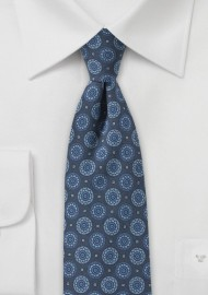 Denim Blue Medallion Print Skinny Tie