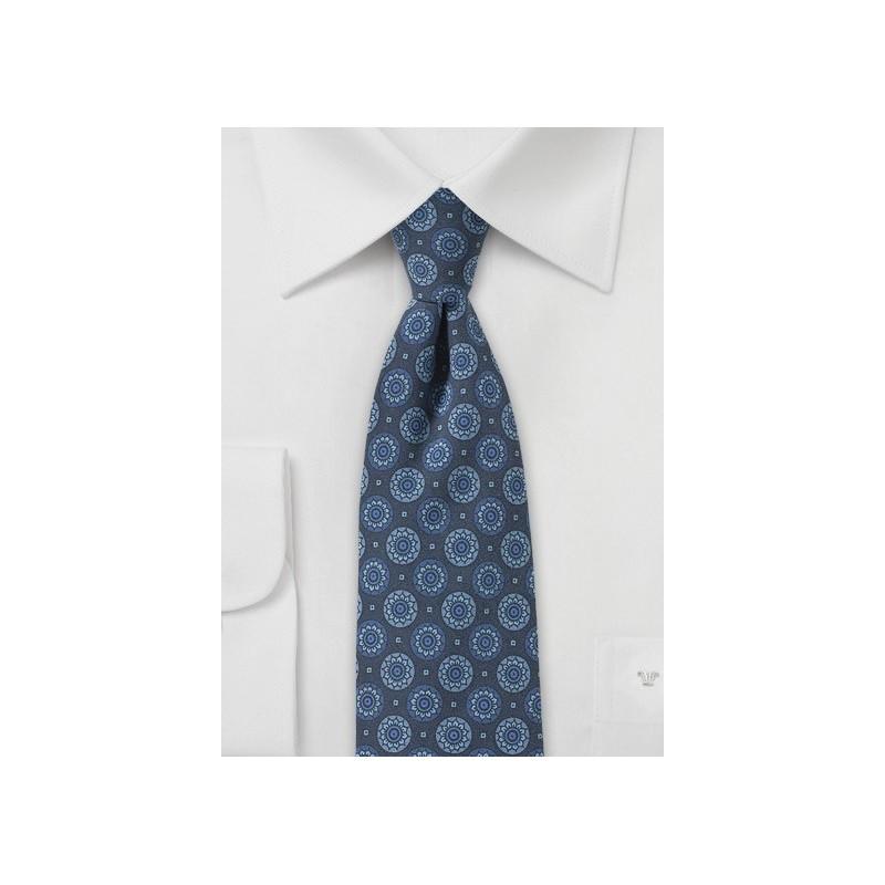 Denim Blue Medallion Print Skinny Tie