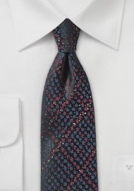Blue and Burgundy Snake Skin Skinny Tie