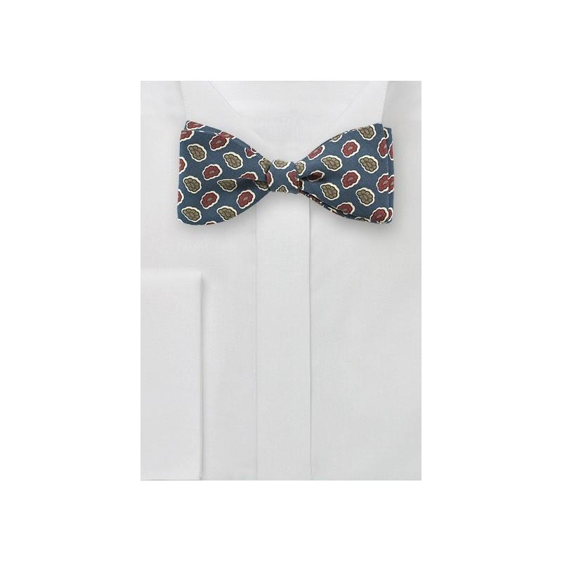 Vintage Paisley Bow Tie in Teal