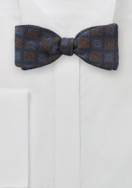 Wool Medallion Print Bow Tie in Navy