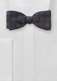 Wool Medallion Print Bow Tie in Navy