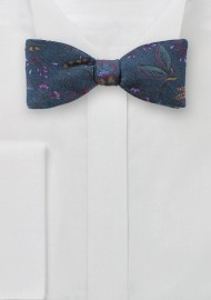 Floral Wool Bow Tie in Dark Teal