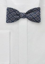 Diamond Medallion Bow Tie in Wool