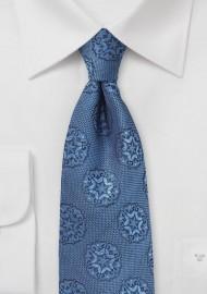 Indigo Blue Woven Medallion Print Tie