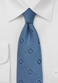 Geometric Design Tie in Indigo
