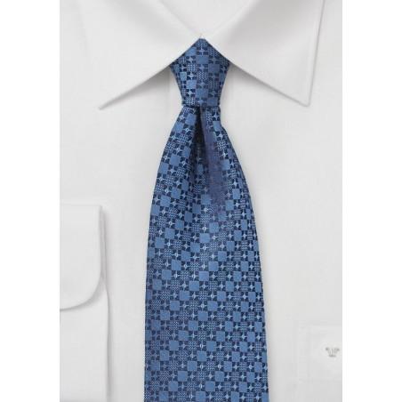Geometric Check Tie in Indigo