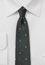 Black Skinny Tie with Blue and White Stars