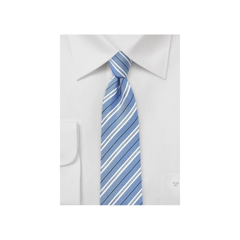 Sky Blue Striped Cotton Tie