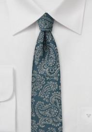 Skinny Paisley Tie in Teal