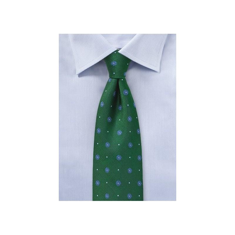 Hunter Green Floral Silk Tie