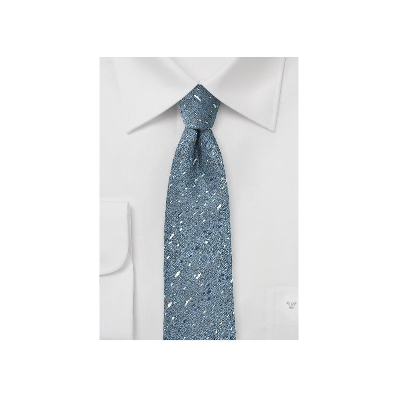 Skinny Wool Tie in Infinity Blue