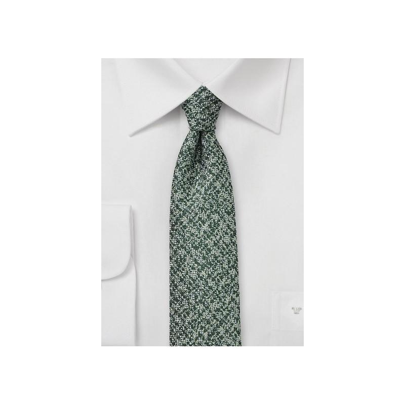 Tweed Skinny Tie in Pine Green