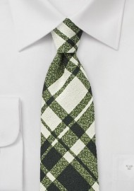 Beige and Green Wool Plaid Tie
