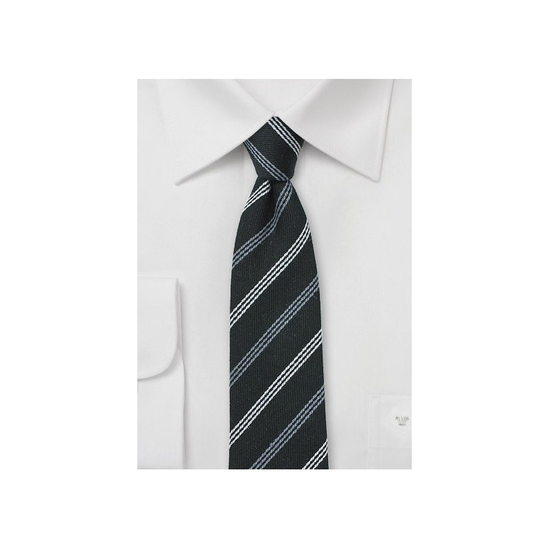 Black and Gray Striped Wool Tie