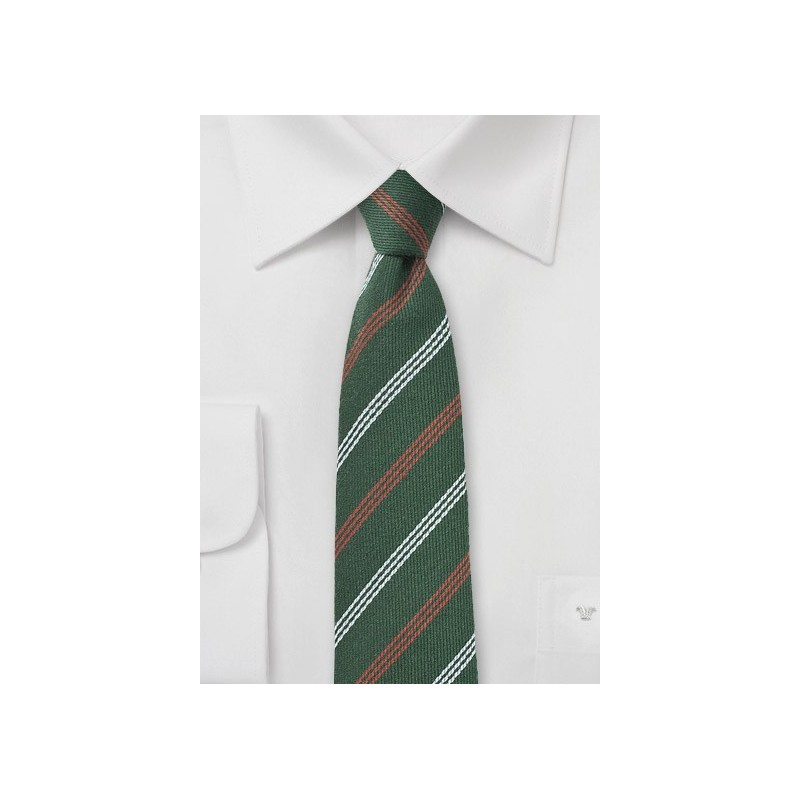Hunter Green Striped Wool Skinny Tie