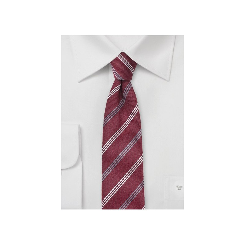 Dark Red Wool Skinny Tie