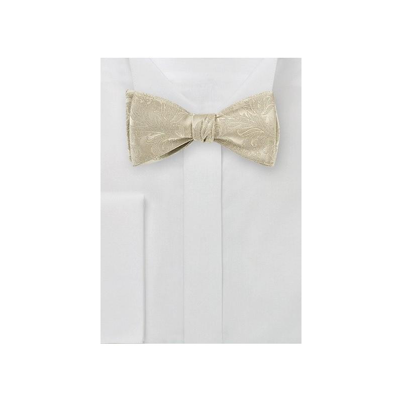 Golden Champagne Silk Bow Tie