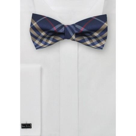 Tartan Plaid Bow Tie in Navy