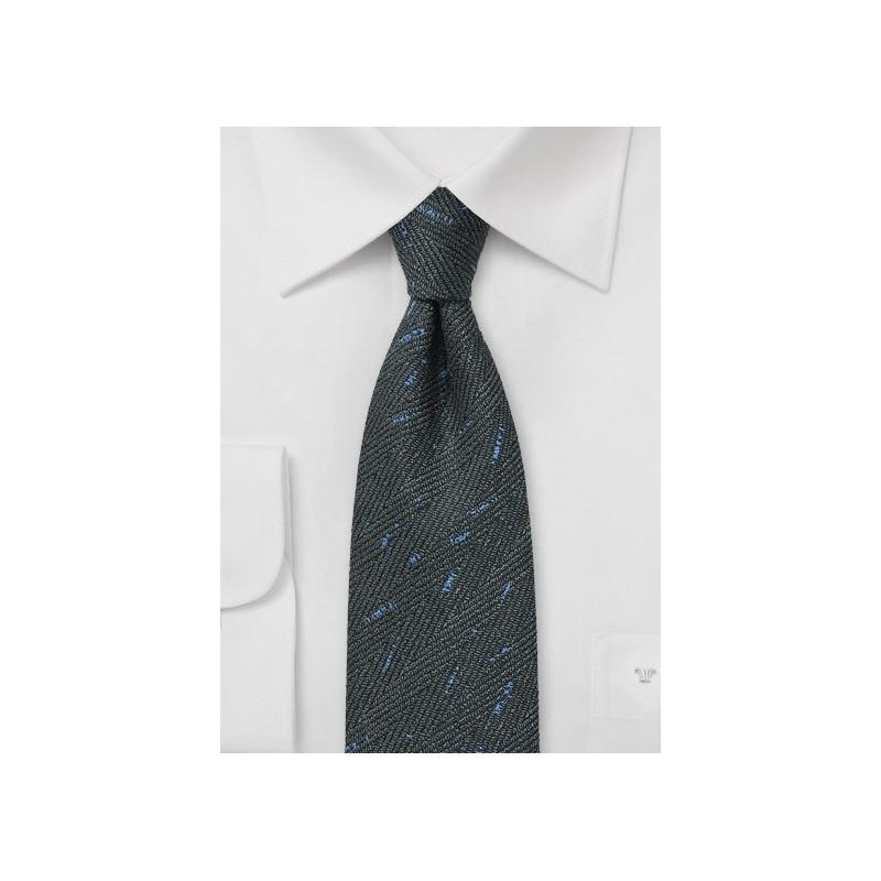 Smoke Gray Herringbone Tie