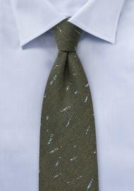 Dark Olive Herringbone Tie