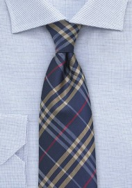 Kids Plaid Tie in Navy and Gold