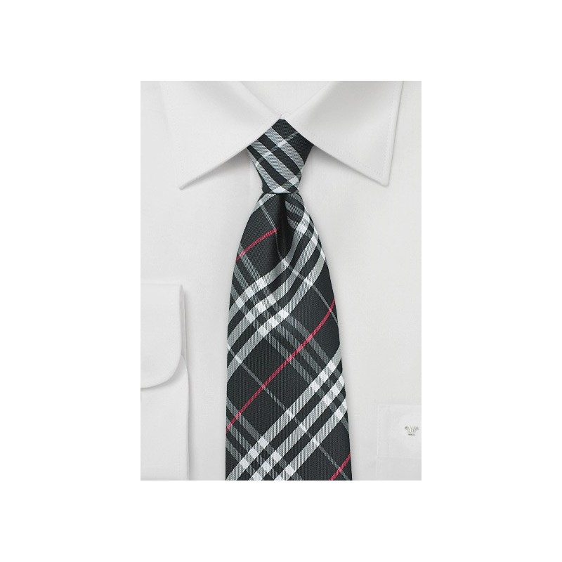 Jet Black Tartan Plaid Tie in XL