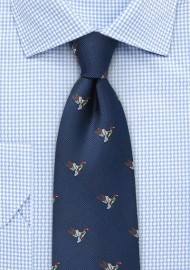Silk Tie with Flying Ducks in Navy