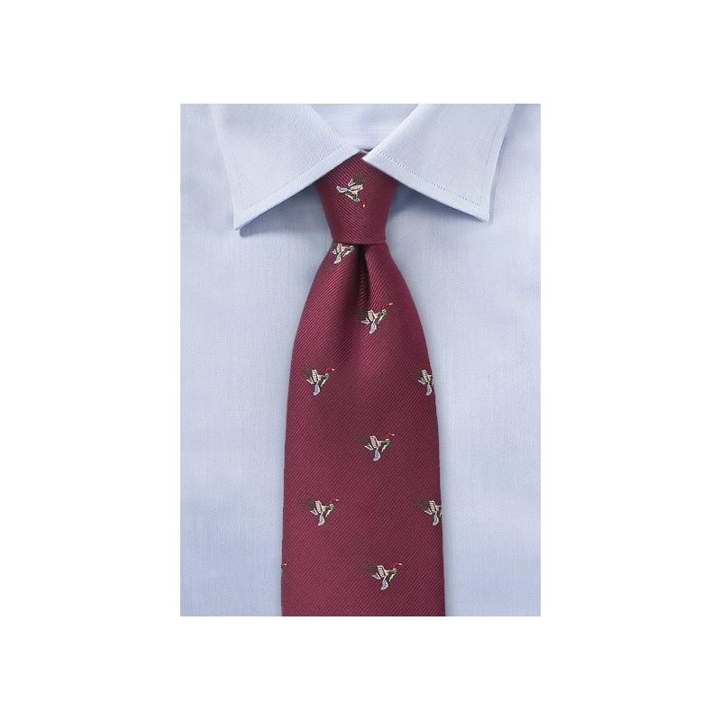 Burgundy Silk Tie with Flying Ducks