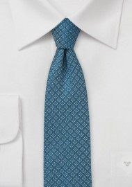 Wool Skinny Tie in Teal