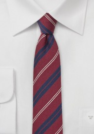 Dark Red and Navy Striped Wool Tie