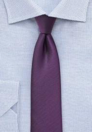 Skinny Matte Textured Tie in Plum
