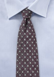 Geometric Wool Weave Tie in Burgundy