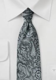 Steel Gray Paisley Kids Tie