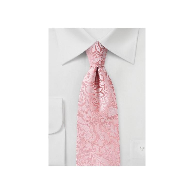 Tulip Pink Kids Tie with Paisley Print