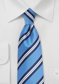 Repp Striped Summer Tie for Kids in Light Blue