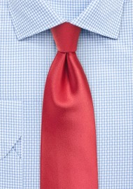 Coral Red Tie in Extra Long Length
