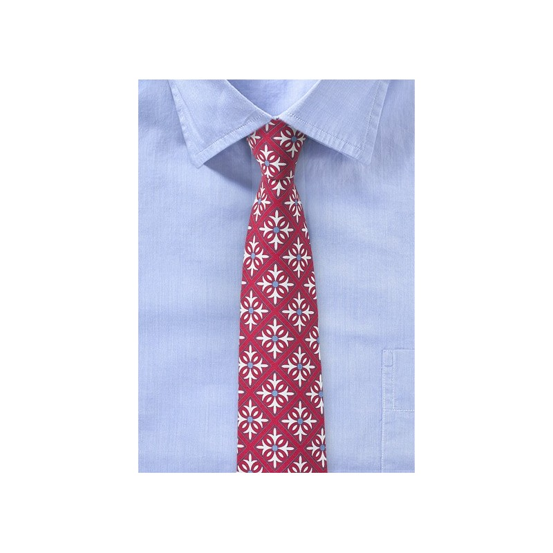 Geometric Tile Pattern Tie in Red