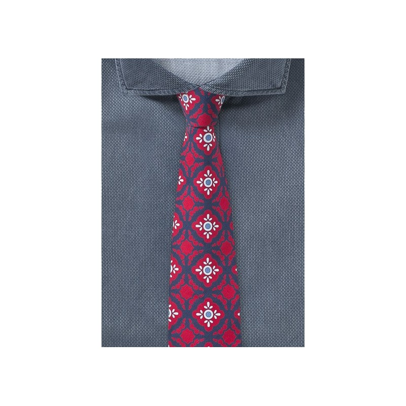 Spanish Geometric Print Tie in Red and Navy