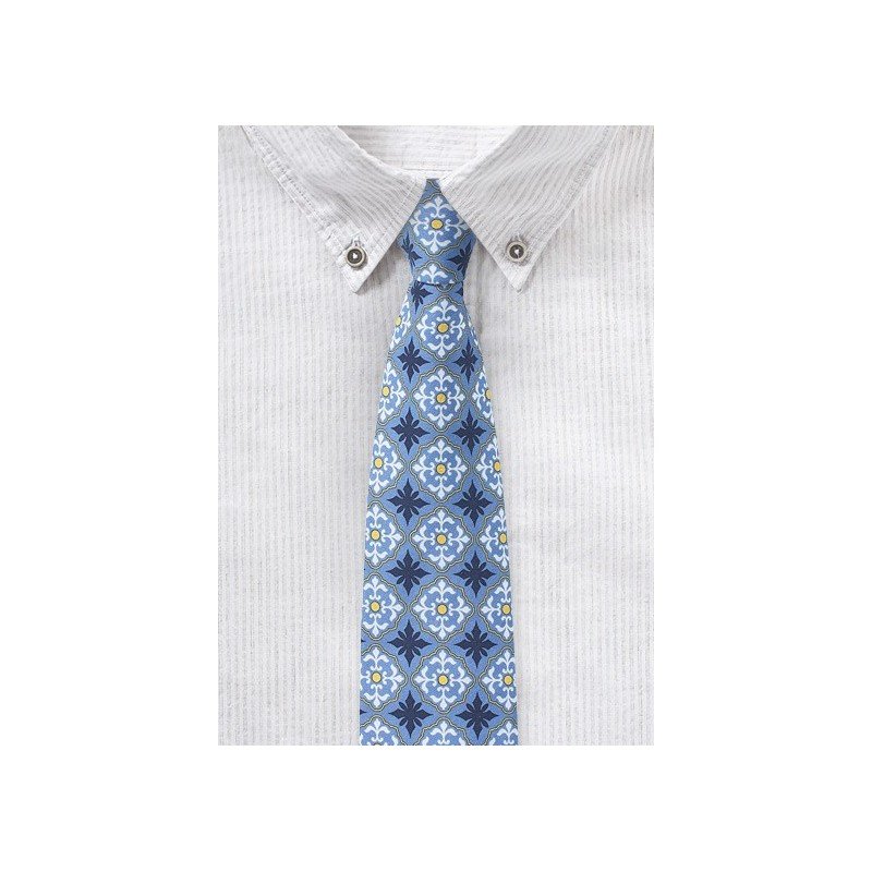Cotton Print Summer Tie in Light Blue