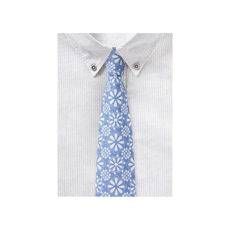 Pale Blue Floral Lace Cotton Tie
