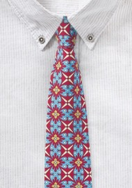 Bold Geometric Print Cotton Tie in Red, Turquoise, and Yellow
