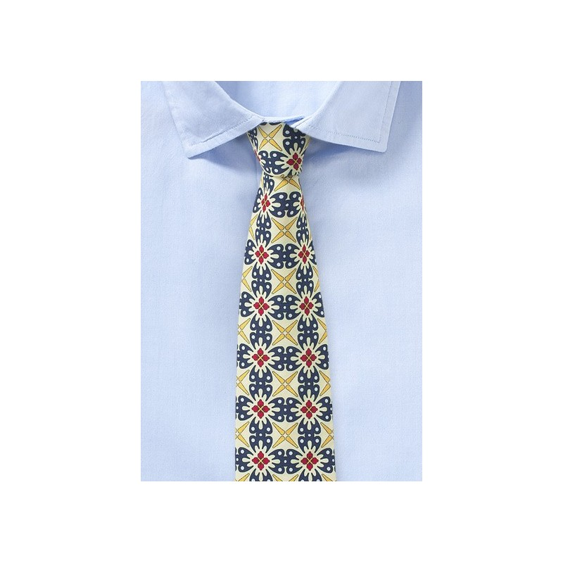 Geometric Design Cotton Tie in Pale Yellow and Navy